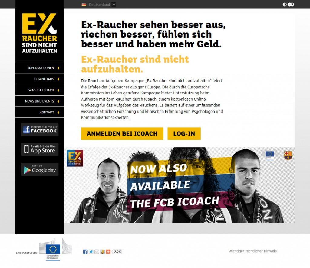 So sieht die Website exsmokers.eu aus.