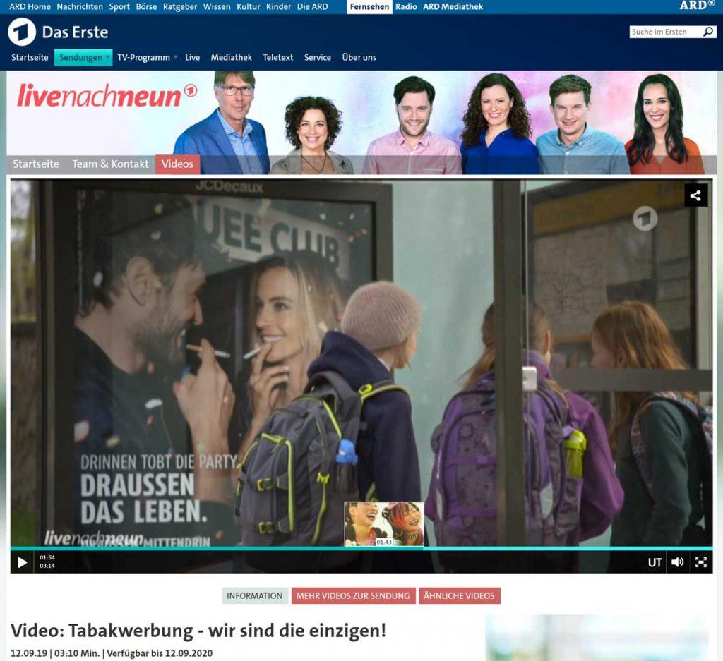 """Link zur Website der ARD mit dem Video zur Sendung """"Live nach Neun"""""""